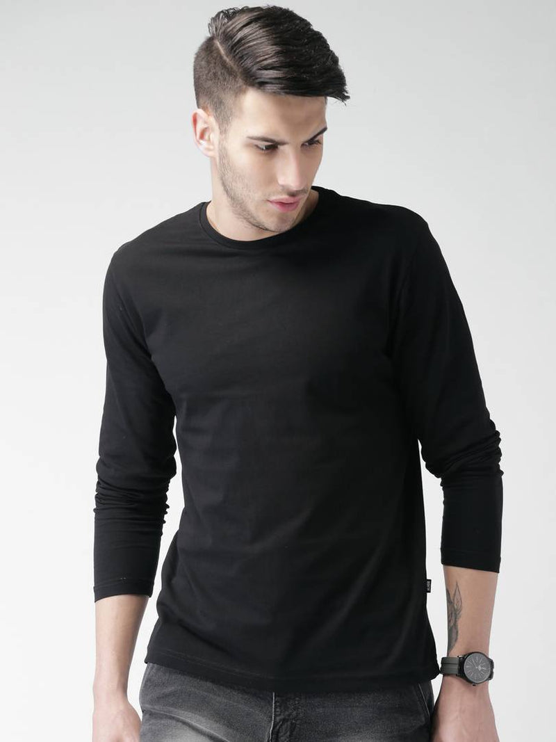 Stylish Black Solid Cotton Round Neck T-shirt For Men