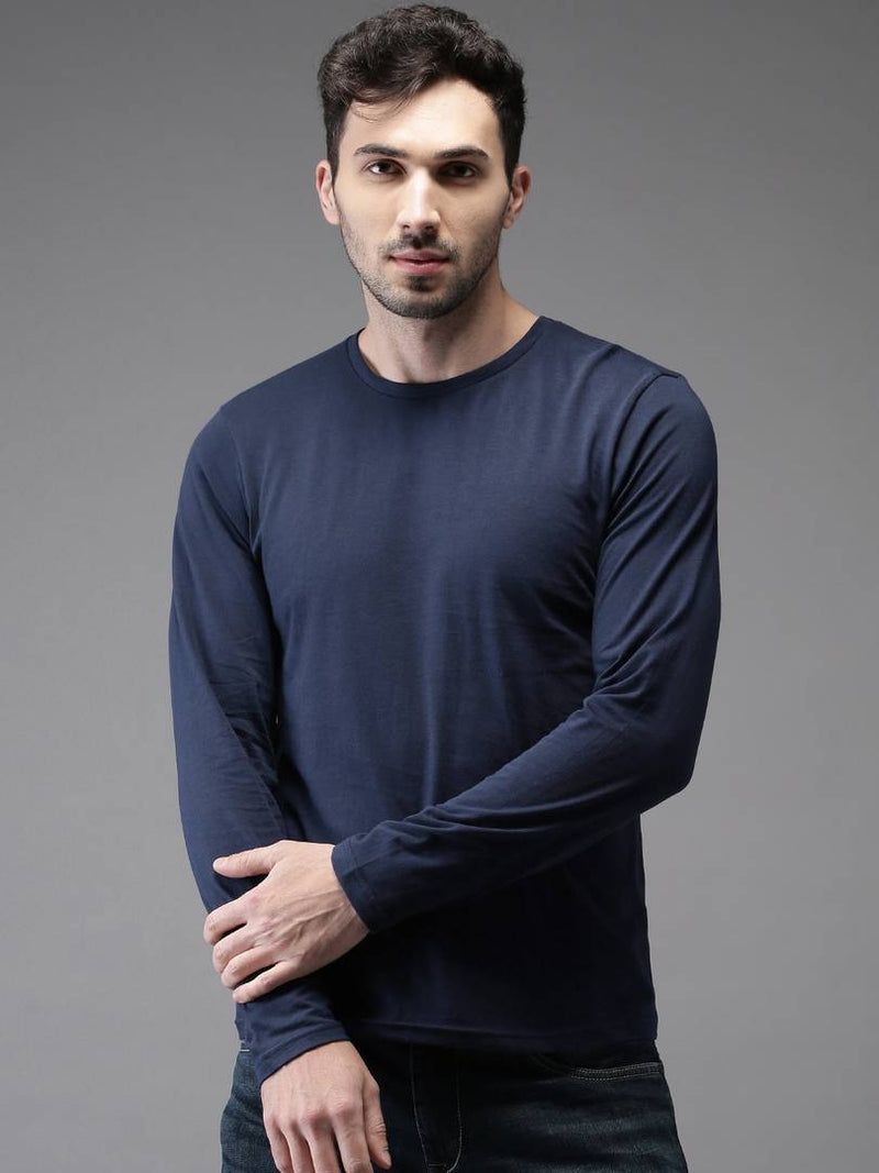 Stylish Navy Blue Solid Cotton Round Neck T-Shirt For Men