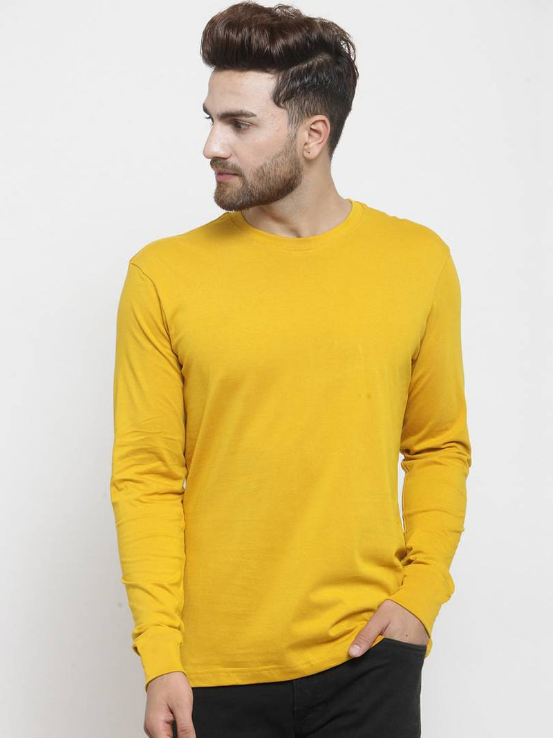 Stylish Yellow Solid Cotton Round Neck T-Shirt For Men