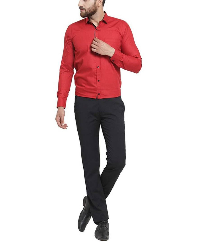 Stylish Red Cotton Blend Solid Formal Shirt For Men