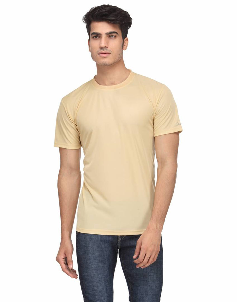 Stylish Beige Solid Polyester Round Neck T-shirt For Men