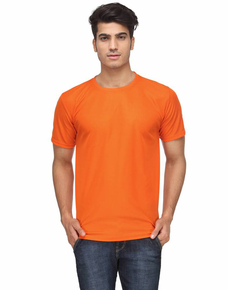 Stylish Orange Solid Polyester Round Neck T-shirt For Men