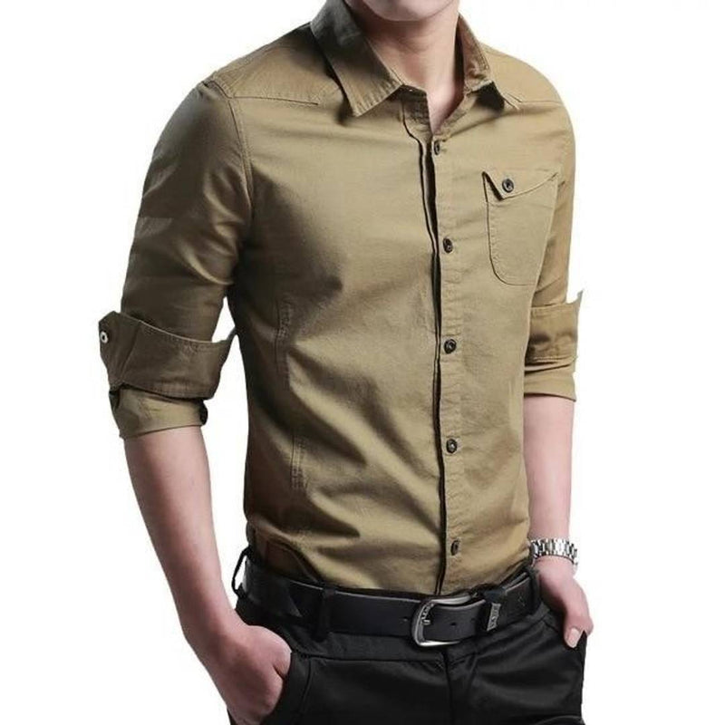 Cotton Solid Long Sleeve Casual Shirt For Men