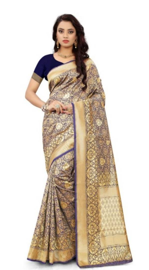 Beautiful Blue Silk Blend Woven Design Saree With Blouse Piece
