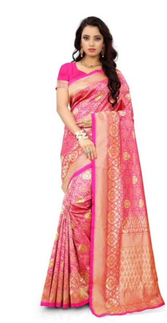 Beautiful Pink Silk Blend Woven Design Saree With Blouse Piece