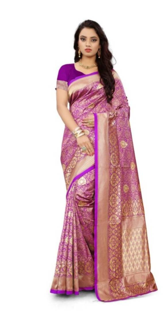Beautiful Purple Silk Blend Woven Design Saree With Blouse Piece