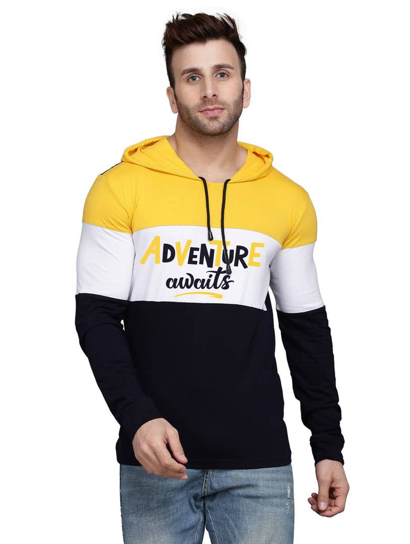 Trendy Yellow Colourblocked Cotton Blend Hooded T-Shirt For Men