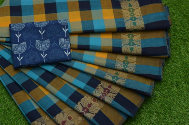 80s Count Chettinadu Cotton Checked Saree with Kalamkari Print Blouse Piece