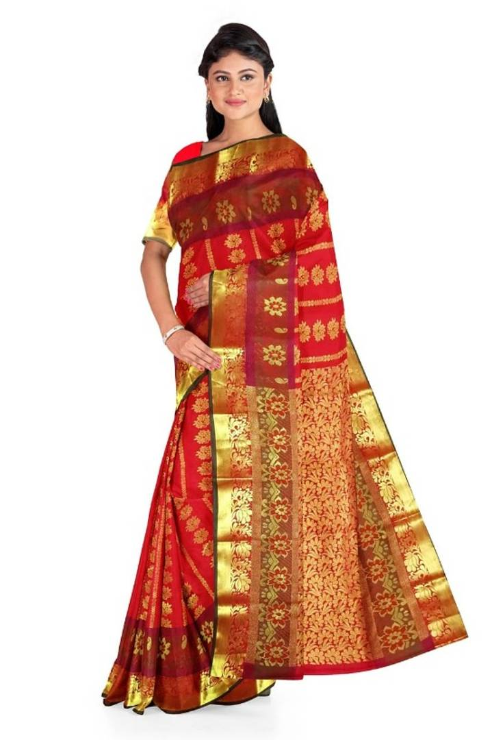 Stylish Cotton Silk Woven Zari Design Saree With Blouse Piece
