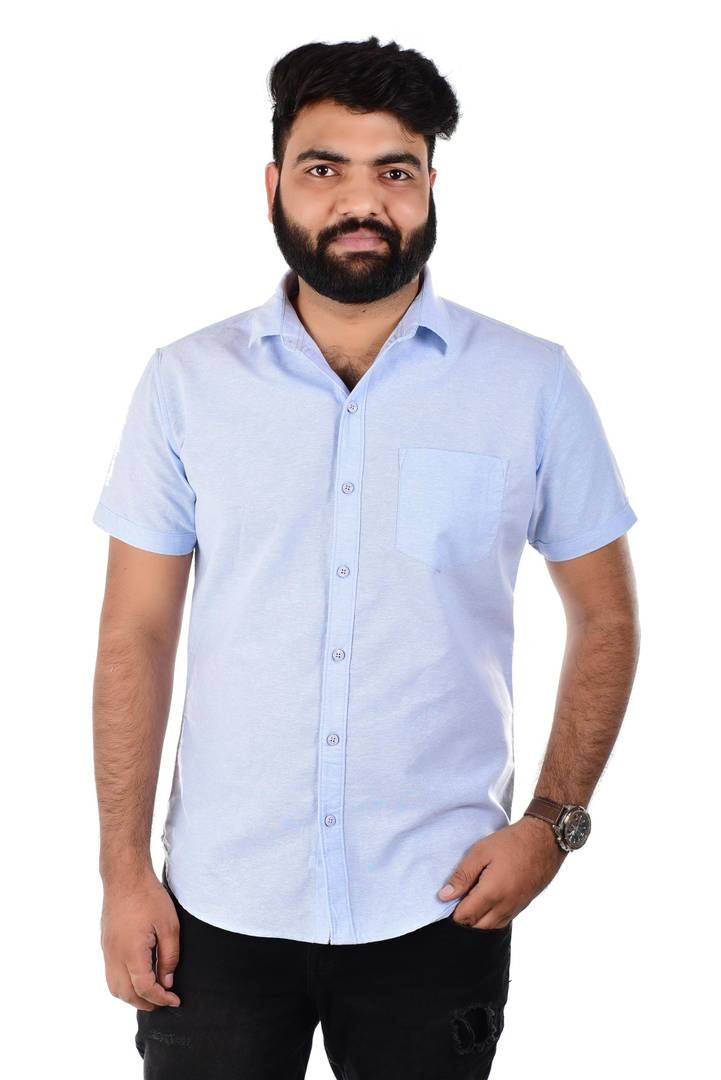 Men's Blue Cotton Short Sleeves Solid Regular Fit Casual Shirts