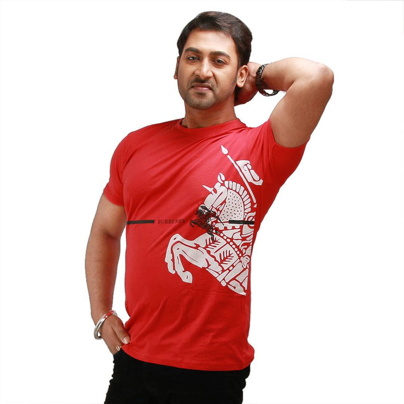 Stylish Red Printed Cotton Round Neck T-Shirt For Men