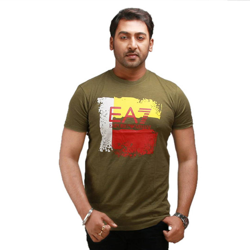 Stylish Olive Printed Cotton Round Neck T-Shirt For Men