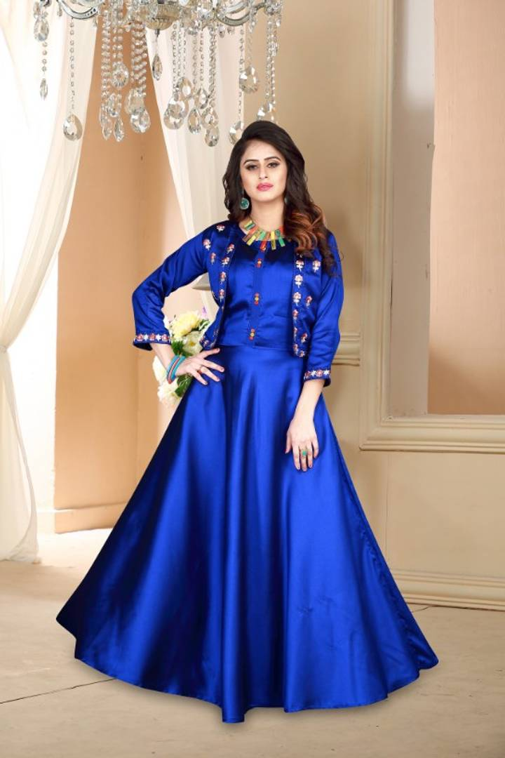 Stylish Blue Satin Embroidered Stitched Gown
