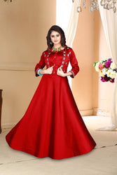 Versatile Red Satin Embroidered Stitched Gown