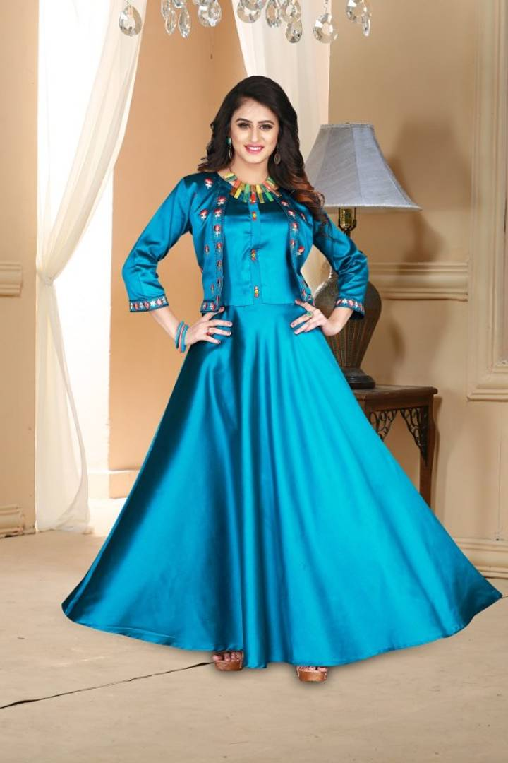 Versatile Sky-Blue Satin Embroidered Stitched Gown