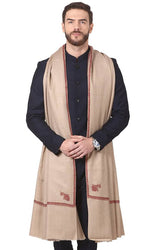 Fashionable Beige Pashmina Viscose Solid Shawl For Men