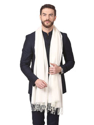 Modern White Pashmina Wool Solid Shawl For Men