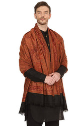 Modern Multicoloured Faux Pashmina Wool Shawl For Men