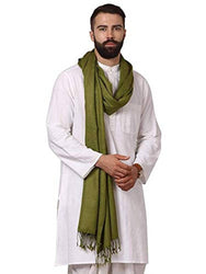 Modern Green Wool Jaquard Woven Shawl For Men