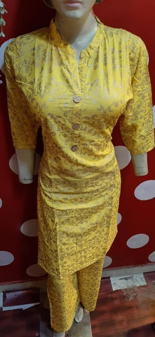 Women's Rayon Printed Kurta With Pant Set