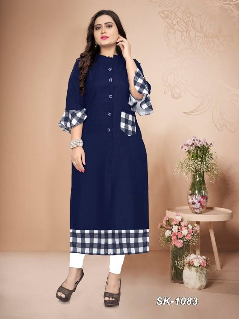 Cotton Printed Bell Sleeved Kurta for Women's