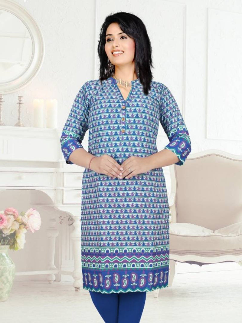 Blue Cotton Printed Knee Length Kurti_NFJ-001