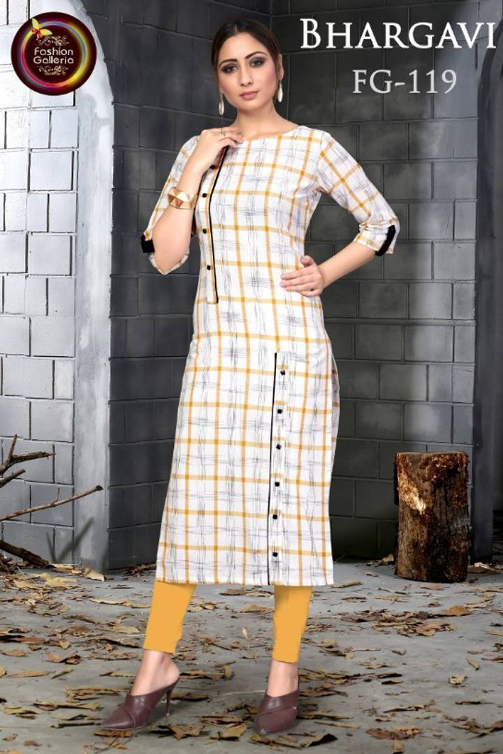 Women's Checked Printed Slub Cotton Kurti