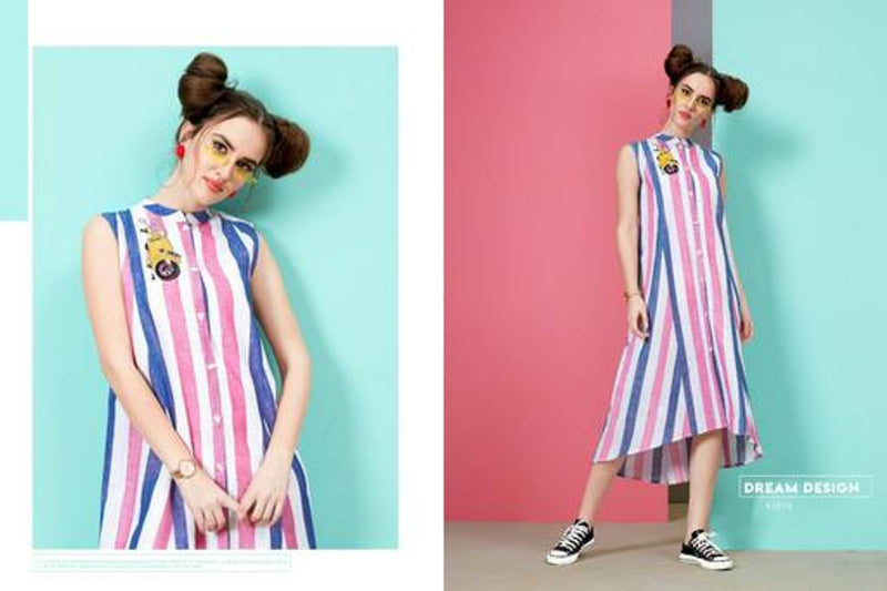 Women's Trendy and Stylish Multicoloured Striped Cotton Kurta