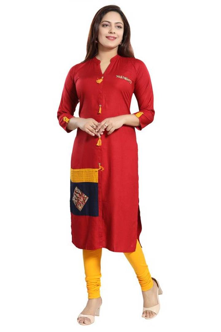 Stylish Rayon Self Pattern Maroon Kurta For Women