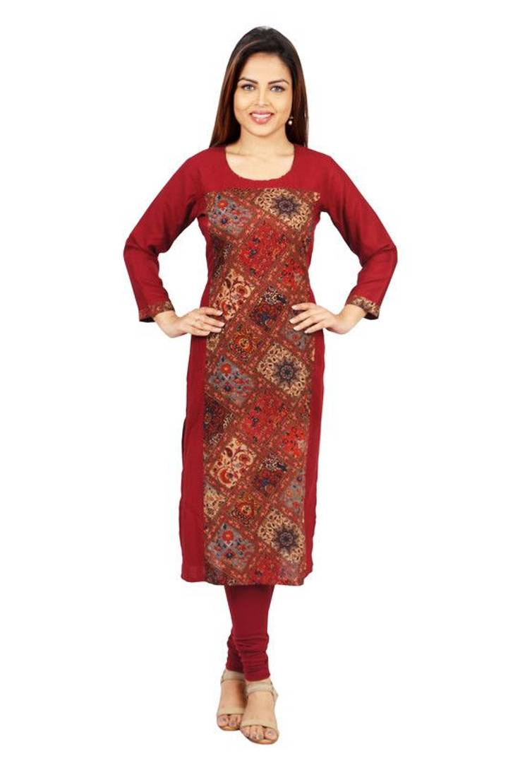 Stylish Rayon Printed Maroon Kurta For Women
