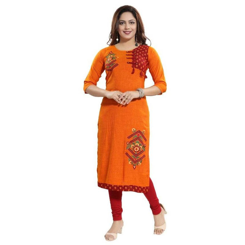Stylish Rayon Printed Mustard Kurta For Women