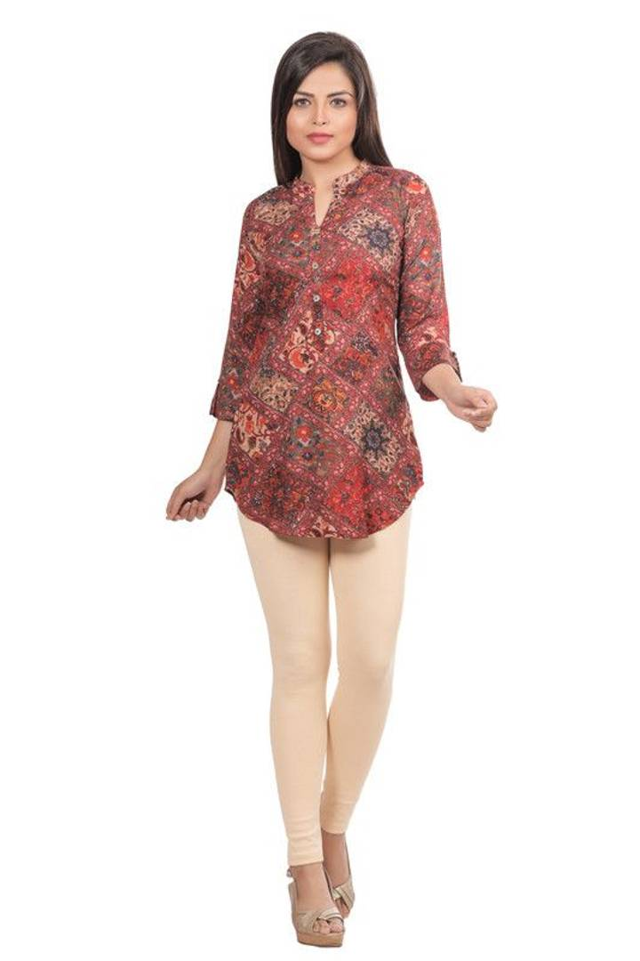 Stylish Rayon Printed Multicoloured Kurta For Women