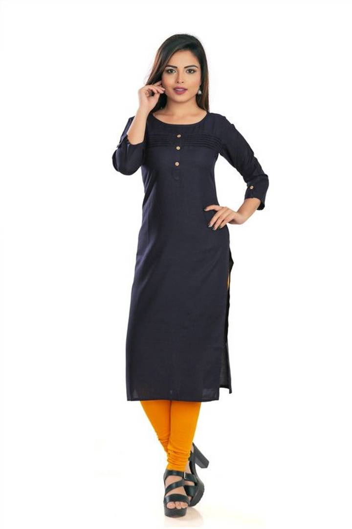 Stylish Rayon Solid Black Kurta For Women