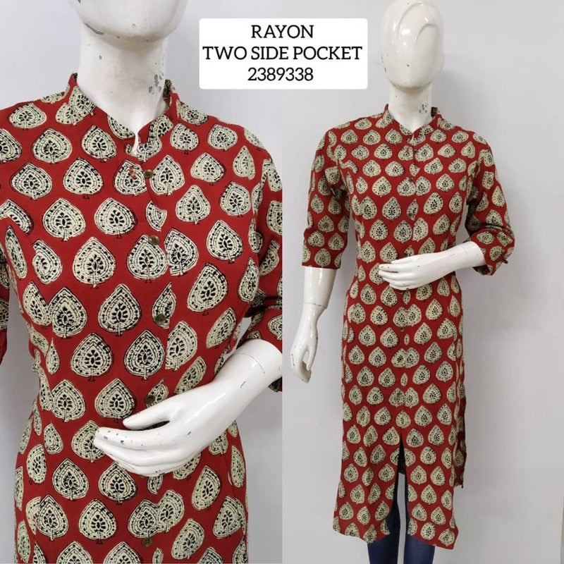 Rayon Printed Kurti with Button two side pocket