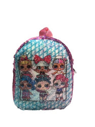 Kids Mini Power Puff Print Backpack Reversible Double-sided Sequins Women Shoulder Bag Backpacks for Teenage Girls Travel Bag Pack.(M-2120)