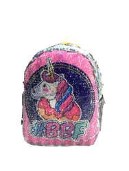 Kids Mini Unicorn Backpack Reversible Double-sided Sequins Women Shoulder Bag Backpacks for Teenage Girls Travel Bag Pack.(M-2120)