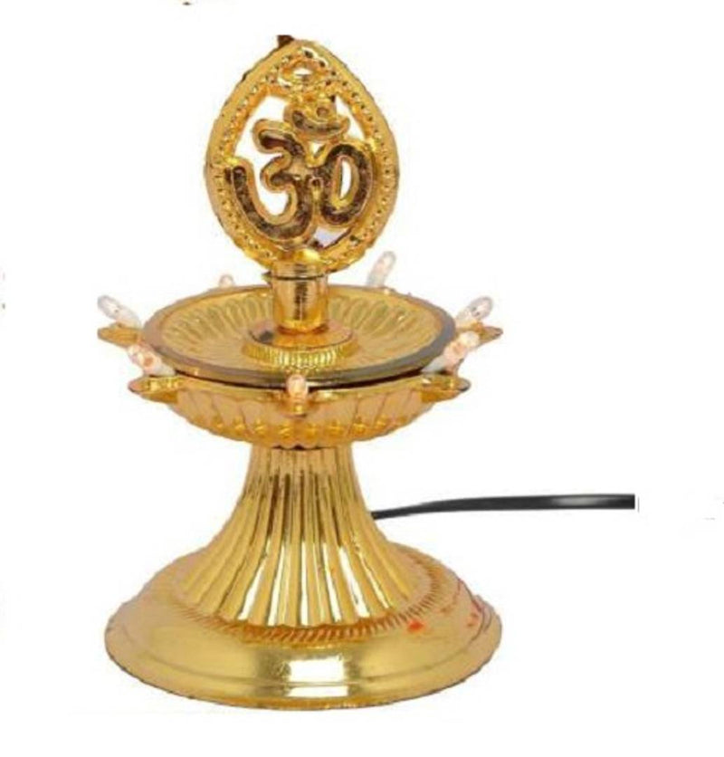 1 Layer Electric Gold LED Plastic Diya Light For Diwali Temple Decoration (Pack Of 1) Table Diya (Height: 5 inch)