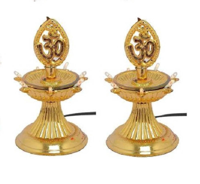 1 Layer Electric Gold LED Plastic Diya Light For Diwali Temple Decoration (Pack Of 2) Table Diya (Height: 5 inch)