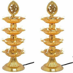 4 Layer Electric Gold LED Plastic Diya Light For Diwali Temple Decoration (Pack Of 2) Table Diya (Height: 12 inch)