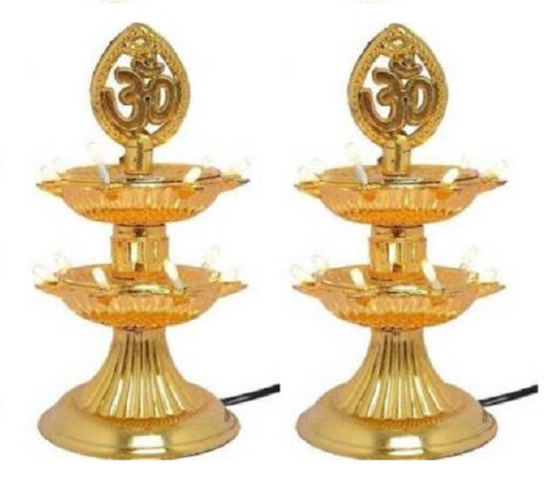2 Layer Electric Gold LED Plastic Diya Light For Diwali Temple Decoration (Pack Of 2) Table Diya (Height: 8 inch)