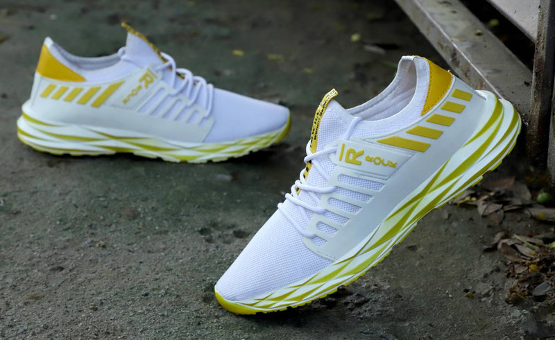 Men's White Yellow Printed New Ultra Running Men's Sports Shoes