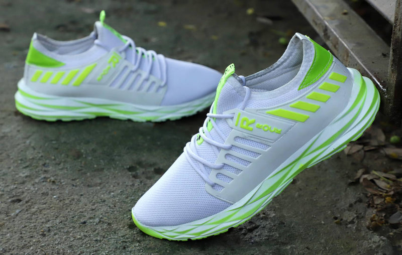Men's White Green  Casulas New-Stylish Running Sports Shoes