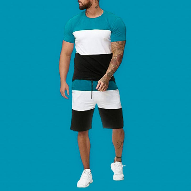 Men's Multicoloured Colourblocked Cotton Blend Tees  & Shorts