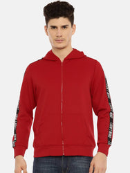 Elegant Red Solid Polyester Track Jacket For Men
