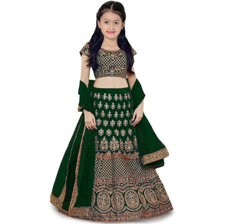 Green Embroidery Art Silk Lehenga Choli For Kids