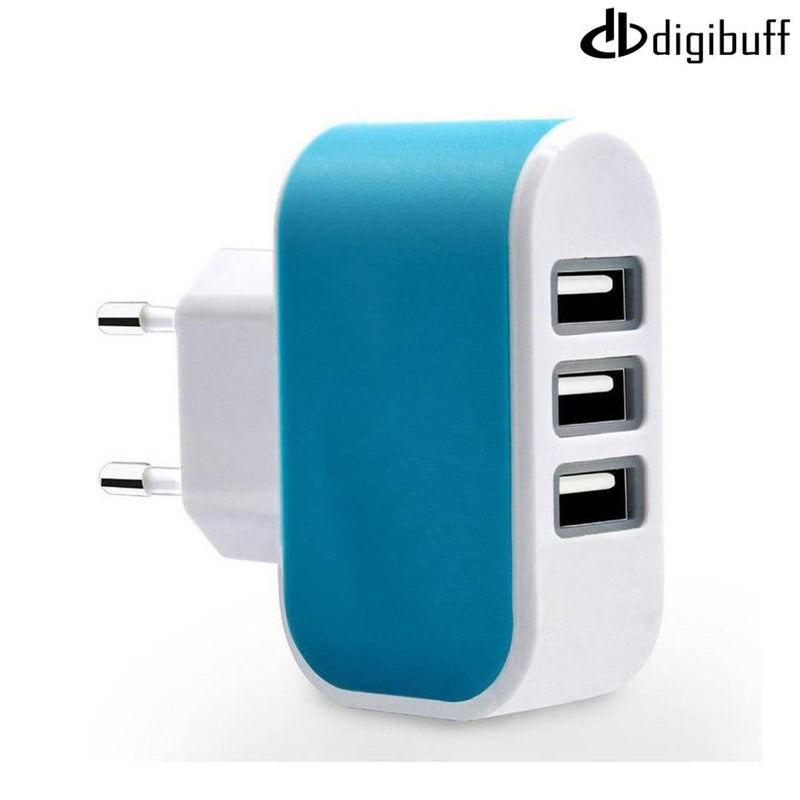 Digibuff 3 Ports 3.1A Triple USB Port Wall Home Travel AC Charger Adapter EU Plug Mobile Phone Charger Blue