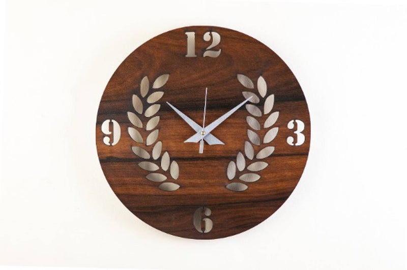 MSK Analog Round Leaf Shaped Wall Clock - Brown Colour