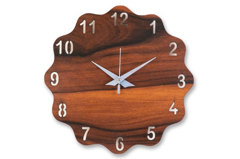 MSK Analog Flower Shaped Wall Clock - Brown Colour