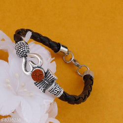 Beautiful Designer Divine Leather Adjustable Om Raudraksh Bracelet Kada