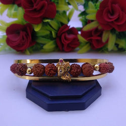 Beautiful Divine Gold Plated Rudraksh Adjustable Bracelet Kada